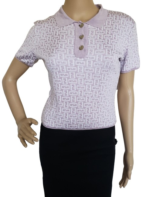 Preload https://img-static.tradesy.com/item/24540263/fendi-multicolor-purple-white-zucca-monogram-cropped-tee-shirt-size-4-s-0-3-650-650.jpg