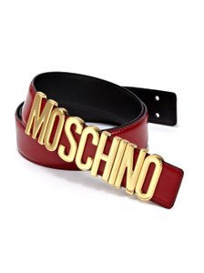 Moschino Red leather Moschino gold-tone letter logo belt