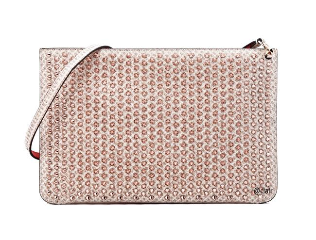 Item - Clutch Quadro Spike Zip Nude/Bronze Rose Metal and Leather Cross Body Bag
