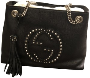 Gucci Leather Studded Chain Tote in Black