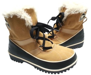 Sorel Faux-shearling Waterproof Rubber Sole Removable Insole Curry Brown Boots