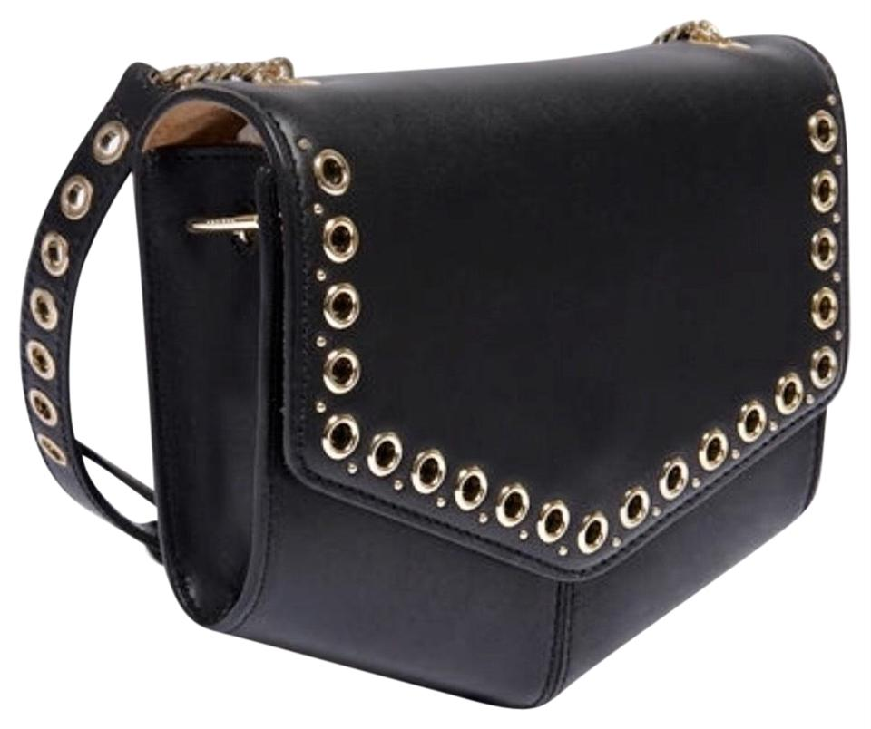 ae09e36b2d Sandro Paris France-lou Noir with Eyelets Black Smooth Leather Cross Body  Bag