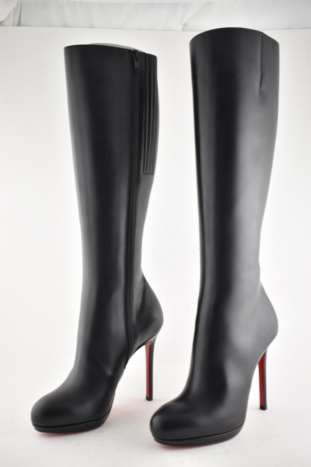 huge selection of 02e7d 8ea30 Christian Louboutin Black Botalili 120 Calf Leather Classic Knee High  Stiletto Heel Boots/Booties Size EU 37.5 (Approx. US 7.5) Regular (M, B)
