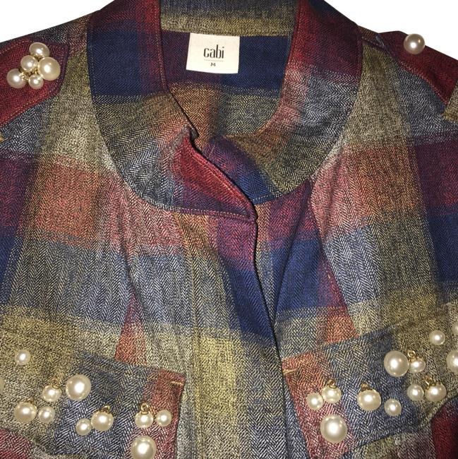 Item - Multi Colored Forest Green Deep Red Navy Blue Off White Accents Collage Jacket Size 10 (M)