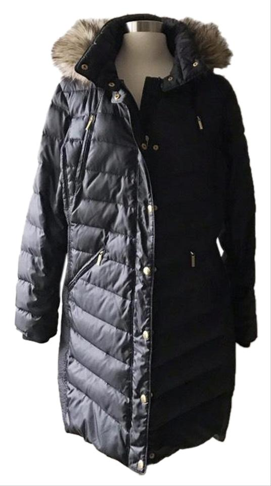 7ffd04fbd66 MICHAEL Michael Kors Black Faux Fur Trim Puffer Coat Size 16 (XL ...
