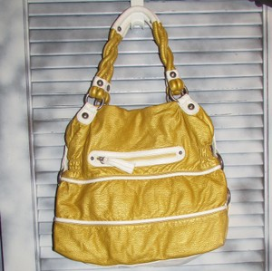 Kathy Van Zeeland Satchel in Gold and White