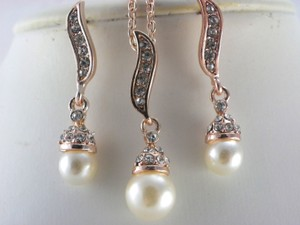 Other Bridesmaid Set Necklace And Earrings Rose Gold Plated Ivory White Pearl Bridal Gift Jewelry Rhinestone Crystal Earrings