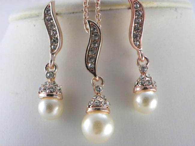 Item - Cream Bridesmaid Necklace and Earrings Rose Gold Plated Ivory White Pearl Gift Rhinestone Crystal Earrings Jewelry Set