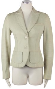 Theory Timeless Career Office Professional Beige Green Leather Jacket