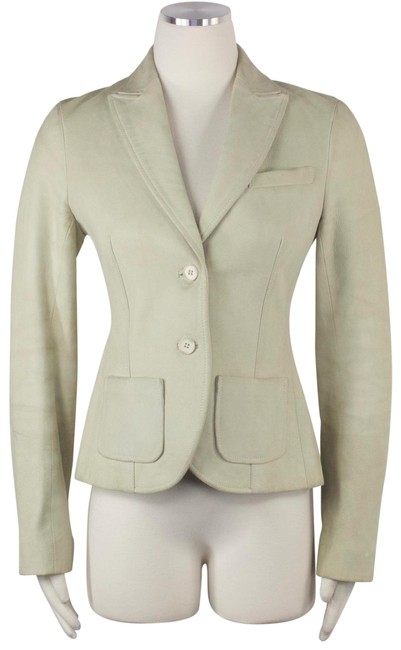 Item - Beige Green Blazer Fitted Double Vent Jacket Size 6 (S)