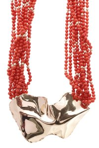 Fine Jewelry Vault Fine Jewelry Coral Beaded Necklace - Gold