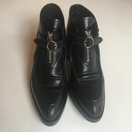 Prada Leather Buckle Zipper Black Boots