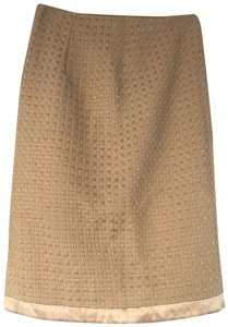 Milly of New York Vintage Knit Metallic Pencil Skirt Rose Gold with Pink Silk Trim & Lining