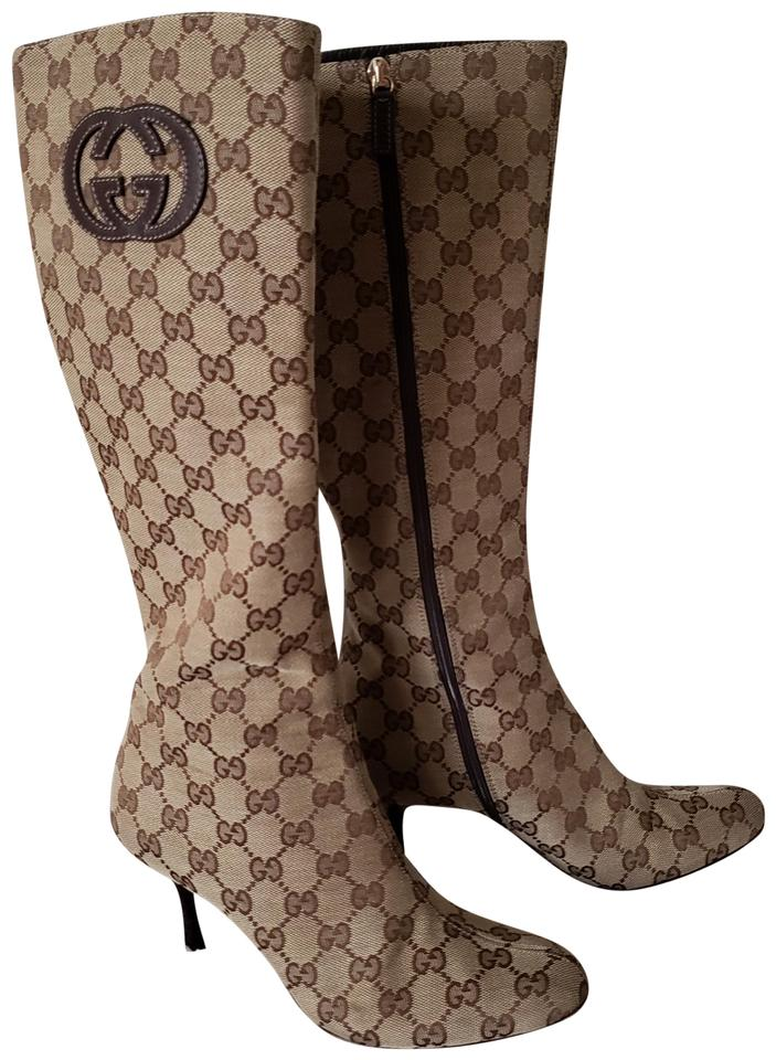 9a13b93bb Gucci Beige Brown Gg Web Print Knee-high Boots/Booties Size EU 37 ...