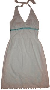 Frederick's of Hollywood short dress White/Mint Halter Lined Embroidered Eyelet Scalloped on Tradesy