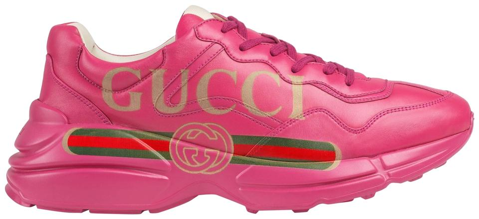 6adfafb868 Gucci Pink New Rhyton Chunky Leather Sneaker Sneakers Size US 10 ...