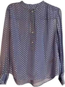 J.Crew Collarless Accent Ribbon 3/4 Sleeve Button Detail Top Blue