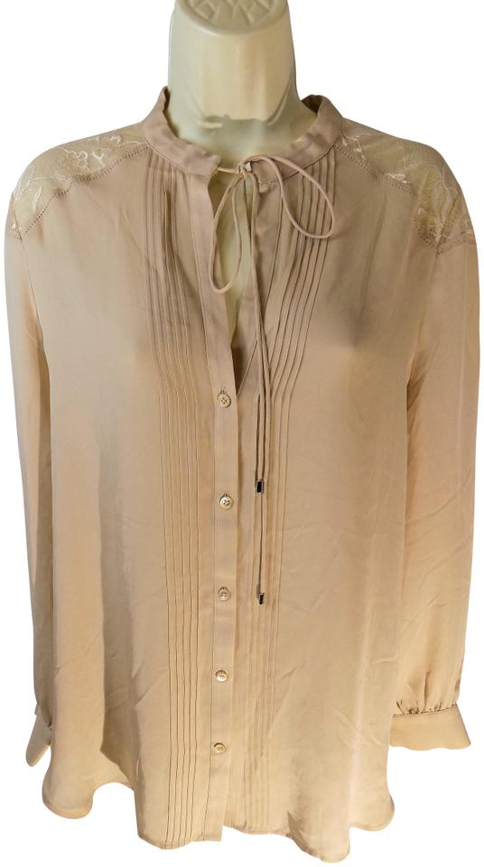 939a81b1e36691 Haute Hippie Beige Women's Shirt Silk Buff Button Front with Lace Acc Blouse