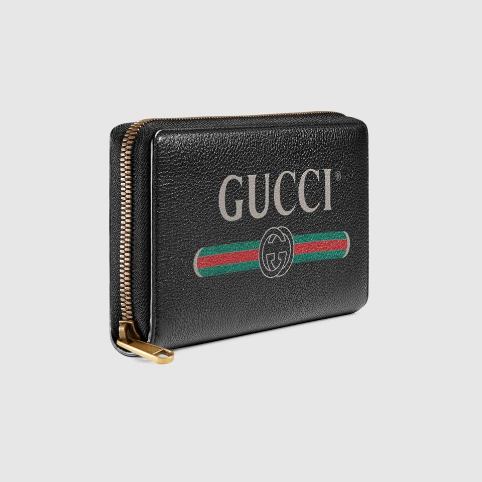 3a15a3316ae Gucci New Gucci Print Leather Zip Around Wallet Black Image 4. 12345