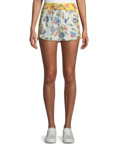 Joie Festival Boho Pants Floral Abstract Dress Shorts White Multi