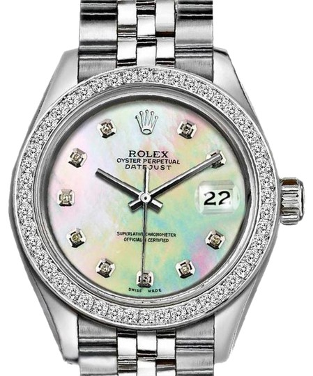 Preload https://img-static.tradesy.com/item/24542895/rolex-silver-ladies-26mm-datejust-with-custom-diamond-bezel-and-mop-dial-watch-0-1-540-540.jpg