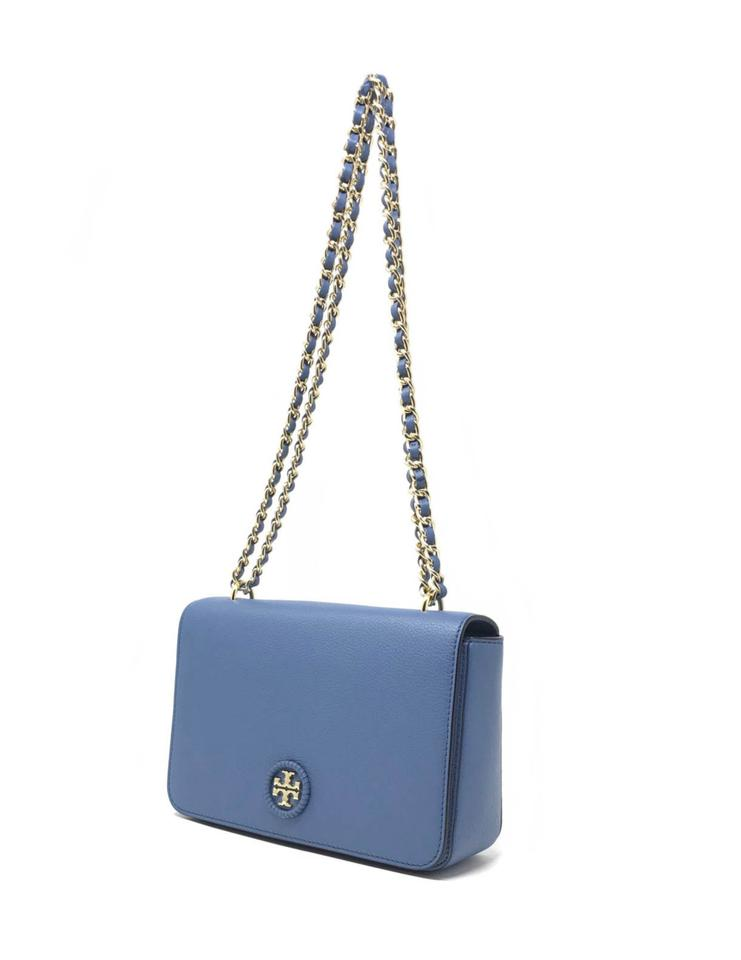 1e5cf1e2817c Tory Burch Whipstitch Wallis Blue Leather Cross Body Bag - Tradesy