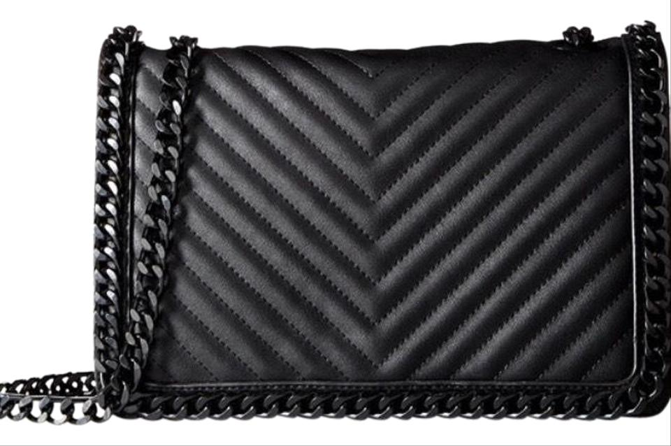 71327f433bc ALDO Green Wald Black Faux Quilted Leather Shoulder Foldover Flap ...