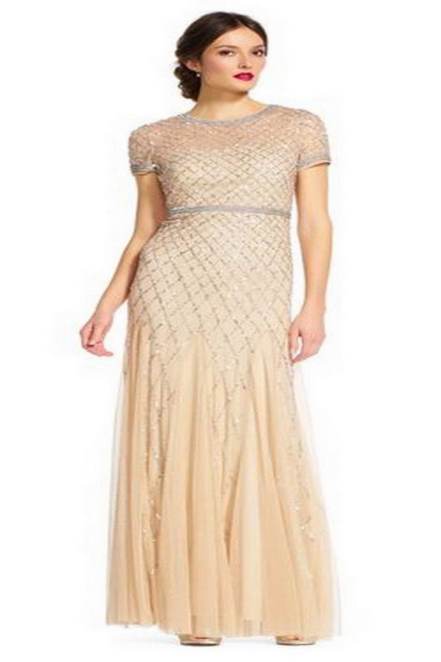 352b17ca Adrianna Papell Champagne Polyester Short-sleeve Beaded Mesh Gown Modern  Bridesmaid/Mob Dress Size ...