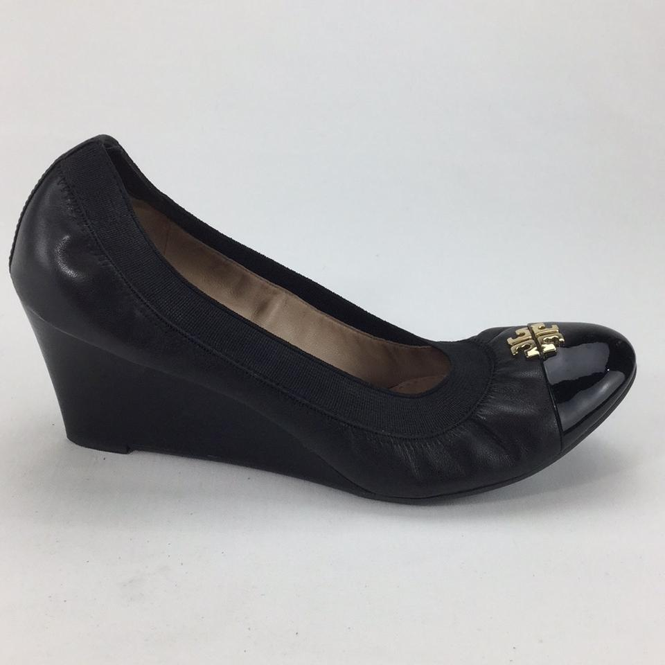 f6642a72f0e1 Tory Burch Black Jolie 65mm Patent Cap Wedges Size US 7.5 Regular (M ...