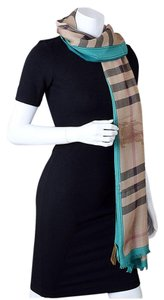 Burberry 9490- Burberry Green Haymarket Check Modal & Cashmere Stole