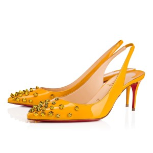Christian Louboutin Pigalle Stiletto Classic Ankle Strap Drama yellow Pumps