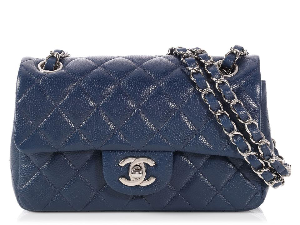 6c2c436a8ad Chanel Classic Flap Mini Puffy Quilted Caviar Navy Blue Leather Cross Body  Bag