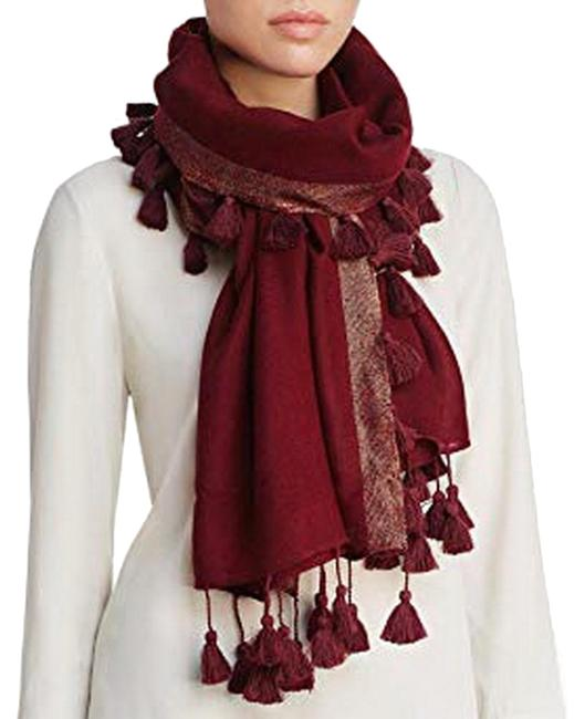 Item - Red Tasseled Shimmer Wool Claret with Gold Scarf/Wrap