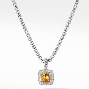 """David Yurman GORGEOUS!! LIKE NEW!! David Yurman Albion Citrine Necklace Sterling Silver Citrine measures 7mm x 7mm 0.17 carat total weight of Diamonds Pendant measures 11mm x 11mm Chain is Adjustable 16""""- 17"""" 100% Authentic Guaranteed!! Comes with Original David Yurman Pouch!!"""