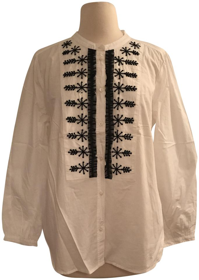 J.Crew White Embellished Button-up Shirt In Poplin H3827 Button-down ... 57b482003