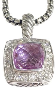 """David Yurman GORGEOUS!! LIKE NEW!! David Yurman Albion Pink Quartz Necklace Sterling Silver Pink Quartz measures 7mm x 7mm 0.17 carat total weight of Diamonds Pendant measures 11mm x 11mm Chain is Adjustable 16""""- 17"""" 100% Authentic Guaranteed!! Comes with Original David Yurman Pouch!!"""