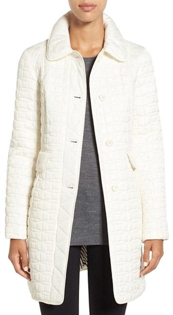 Item - Cream Packable Long A-line Quilted Coat Size 8 (M)