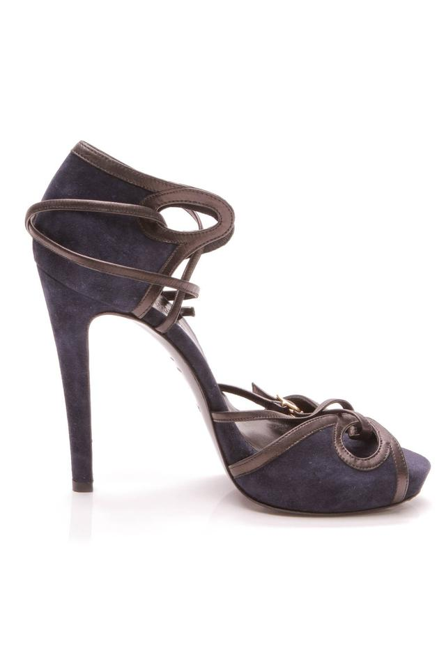 c47cf536d Hermès Blue Strappy Sandals - Navy Suede Platforms Size EU 38 (Approx. US  8) Regular (M