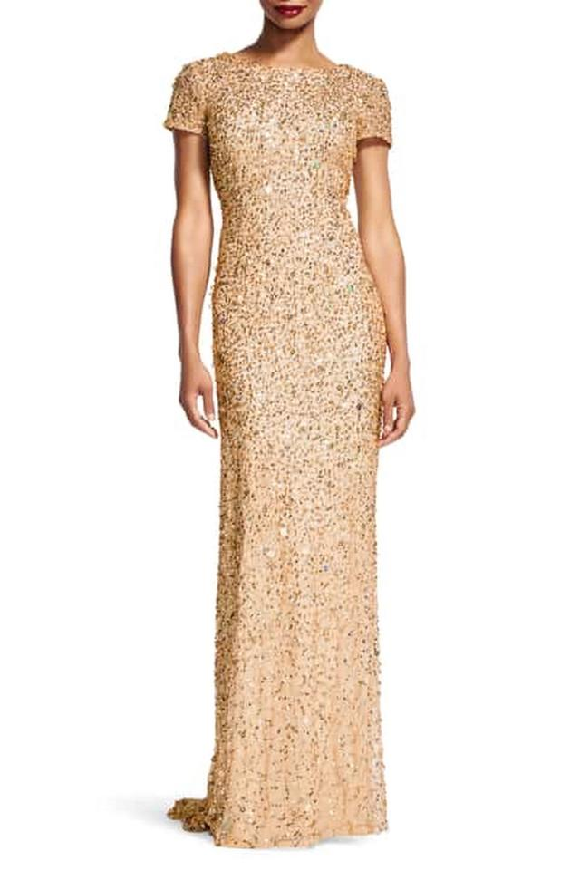 73bcce1222 Adrianna Papell Champagne Polyester Champagne Gold Short-sleeve All Over  Sequin Gown Modern Bridesmaid Mob Dress