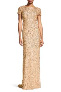 Adrianna Papell Champagne Polyester Champagne/Gold Short-sleeve All Over Sequin Gown Modern Bridesmaid/Mob Dress Size 4 (S)