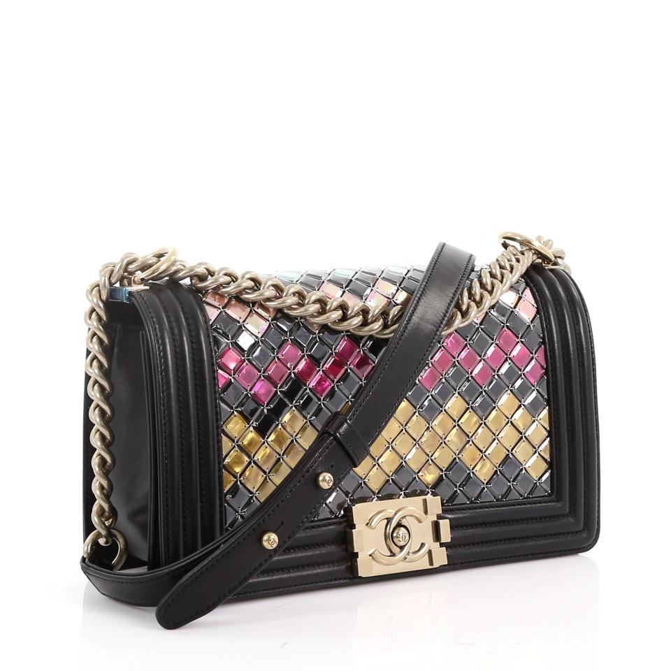 ddf35163c2b5 Chanel Classic Flap Boy Mosaic Embellished Old Medium Black Lambskin  Leather Shoulder Bag - Tradesy