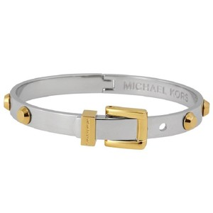 Michael Kors Nwt Gold Silver Astor Stud Buckle Bangle Bracelet Mkj1892931
