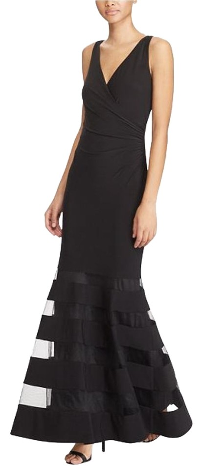 4c29b62b103b Lauren Ralph Lauren Black Jersey Tulle Panel Gown Formal Dress Size ...