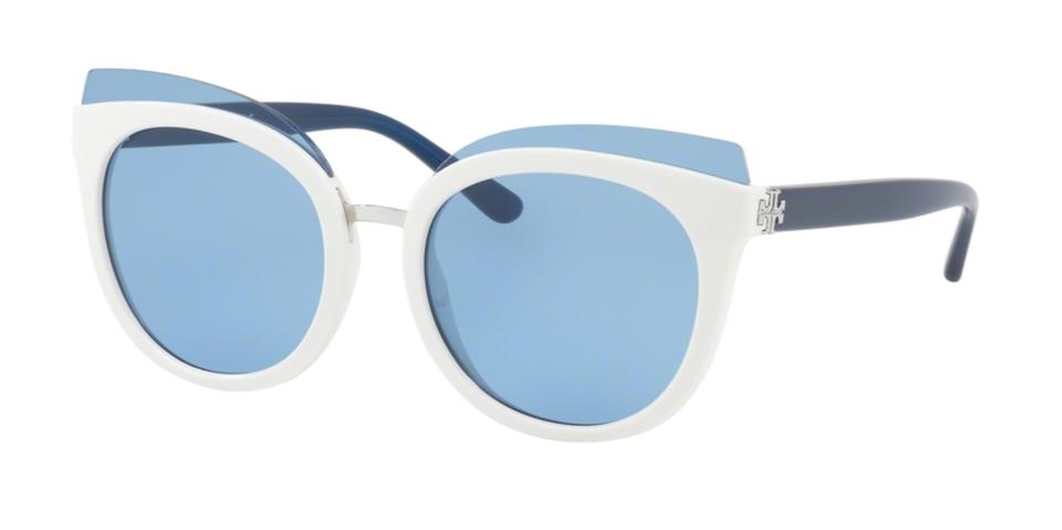 66cad5c6002 Tory Burch New 9049 166272 Blue Ivory Cat-eye Frame W  Blue Lenses W   Sunglasses - Tradesy