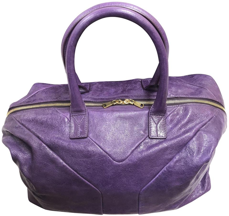 552da30b3ed5 Saint Laurent Patent Leather Leather Logo Italian Gold Hardware Tote in  Purple ...
