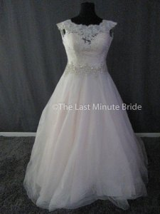 Allure Bridals Pink/Ivory Lace and Tulle 2967 Feminine Wedding Dress Size 16 (XL, Plus 0x)
