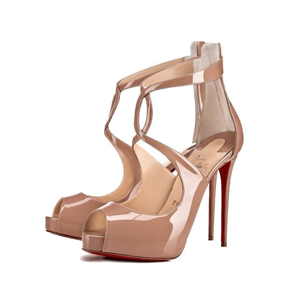 b3c4892a73e1 Christian Louboutin Beige Rosie 120 Nude Patent Leather Peep Toe Hidden Platform  Pumps