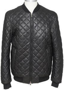 Lot78 Men's Bomber Quilted Leather Jacket