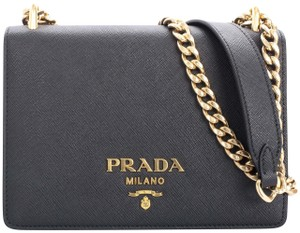 6a4cf58ec250 Added to Shopping Bag. Prada Lux Saffiano Gold Cross Body Bag. Prada Lux  Black Saffiano Leather ...