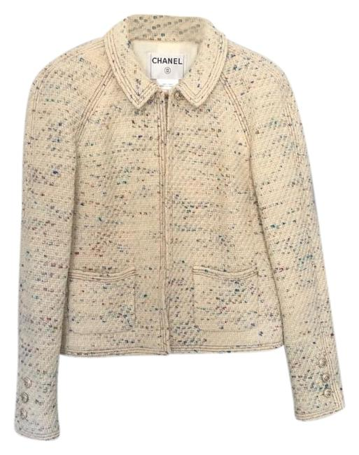 Item - Cream Multicolor 2003 Cruise Collection By Karl Lagerfeld Jacket Size 6 (S)